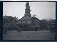 East Village: St. Mark's Church-in-the-Bowery, undated. Trollies in foreground.