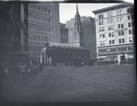 [Lower Manhattan: St. Paul's Chapel with trolley and trolley tracks in foreground (intersection of Vesey Street, Ann Street, and Broadway)], undated.