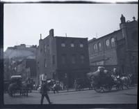 [Lower?} Manhattan: unidentified intersection with horse-drawn carts, undated.