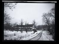 Flushing: [William Furman House (later Timothy Townsend Jackson House, Willow Glen Farmhouse), Union Turnpike in the vicinity of Queens Boulevard, 1922?. Winter view with snow. Demolished ca. 1935.]