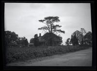 Jamaica: unidentified wooden house surrounded by trees and fields, undated.