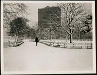 New York City: Whitehall Building, 17 Battery Place, Battery Park, in snow, undated.