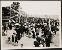 New York City: Coney Island beach with bathers, 1906.