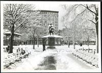 New York City: statue of John Ericsson, Madison Square Park [i.e. Battery Park], 1905. Winter view with snow.
