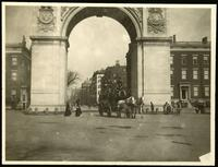 New York City: Washington Square arch, undated. Horse drawn bus visible.