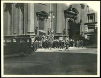New York City: crowds outside Fifth Avenue Presbyterian Church, Fifth Avenue and 37th Street, undated.