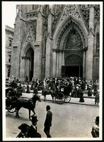 New York City: crowds and traffic outside St. Patrick's Cathedral, 51st Street and Fifth Avenue, undated.