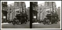 New York City: St. Nicholas' Collegiate Church, 48th Street and Fifth Avenue, with double-decker bus, undated. Stereograph.