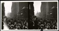 New York City: crowds watching a parade on Fifth Avenue looking south from around 35th Street, undated. Stereograph.