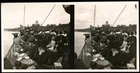 New York City: passengers on unidentified excursion boat on the Hudson River, undated. Stereograph.