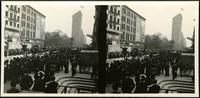 New York City: parade on Broadway and 27th Street, undated. Flatiron Building in background. Stereograph.