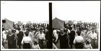 New York City: crowds on Coney Island beach, undated. Stereograph.