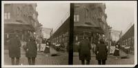 New York City: pushcart market, First Avenue and 10th Street, undated. Stereograph.