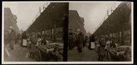 New York City: pushcart market, First Avenue and 14th Street, undated. Stereograph.