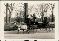 New York City: three unidentified girls in a goat cart, Central Park, 1908.