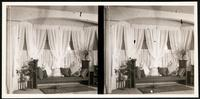 New York City: unidentified interior bay window with drapes, bench, undated. Stereograph.