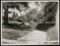 New York City: driveway detail of unidentified house, Queens, undated.