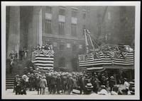 New York City: platforms draped in bunting at the foot of the steps of an unidentified building, undated.