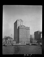 New York City: Whitehall Building, 17 Battery Place, Battery Park, after 1-14 West Street addition, undated. View from the river.