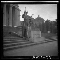 New York City: Alma Mater statue on steps outside Low Library, Columbia University, undated.