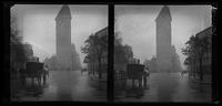 New York City: Flatiron Building, 23rd Street looking south, wet misty streets, undated. Stereograph.