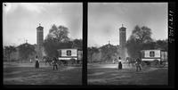 New York City: Judson Memorial Church, Washington Square South, viewed through Washington Square Park, undated. Stereograph.