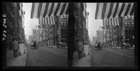 New York City: Broadway near Franklin Street, with flags hung along street, undated. Stereograph.
