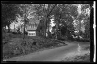 New York City: unidentified houses with large shade trees, undated. Queens.