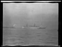 Unidentified tugboat and steamship, undated.