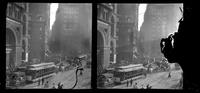 New York City: unidentified Manhattan street scene with horse carts and streetcars, undated. Stereograph.