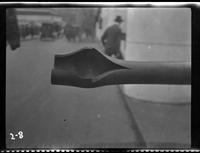 New York City: [close angle on the ruptured barrel of a captured German artillery piece placed on Park Avenue north of Grand Central Terminal], undated [ca. 1918].