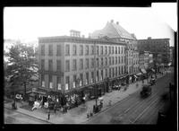 Brooklyn: Washington Building, [southeast corner of Court Street and Joralemon Street, 1922. Built about 1851; demolished 1924. First headquarters of the YMCA in Brooklyn; Jacob M. Hopper, undertaker, occupied ground floor; later Willis & Strafford.]