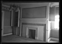 Flatlands: [interior view of Ryerson House living room with fireplace, undated.]
