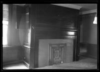 Flatlands: [interior view of Ryerson House living room with fireplace and screen, undated.]