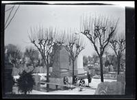 Newtown: [Armbruster monument in unidentified snow-covered cemetery, undated.]