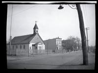 Newtown: [unidentified church and other buildings, undated.]
