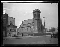 Newtown: [unidentified church with square stone bell tower, undated.]