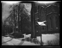 Newtown: [front entry of unidentified church in snow, undated.]