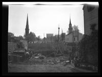 Newtown: [two unidentified steepled churches, undated.]