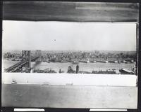 Manhattan: Brooklyn skyline and Brooklyn Bridge, viewed from the American Tract Society building, undated.