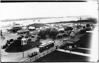 Brooklyn: L.I.R.R. (Long Island Railroad) train and station, located behind the Manhattan Beach Hotel, undated (ca. 1905). Tents and buildings for Engineers' Convention visible.
