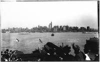 Manhattan: Lower Manhattan skyline and the Hudson River, from New Jersey, 1909. Possibly during the Hudson-Fulton celebrations.