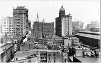 Manhattan: rooftop view of Lower Manhattan from Spruce Street, looking west, undated. Rear views of the New York World Building and the New York Tribune Building.