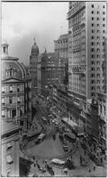 Manhattan: Park Row, undated [ca. 1898]. The Park Row Building under construction, right. The Potter Building, the Times Building, and the (Pulitzer) New York World Building visible.