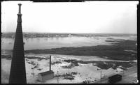 Brooklyn: high angle view of Manhattan Beach, undated. Shingled spire in foreground.