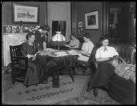 Informal group in the Shryock sitting room, including Louise Shryock and her daughters-in-law, Ethel Gray Magaw Hassler and William Gray Hassler (sleeping), ca. 1912.
