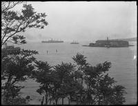 View of the Verrazano Narrows from Shore Road, Bay Ridge, Brooklyn, undated. SS President Grant visible entering the Narrows at left. Photographed for Joseph P. Day.