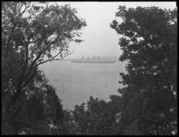 RMS Aquitania exiting New York Harbor through the Verrazano Narrows, undated. Photographed for Joseph P. Day.