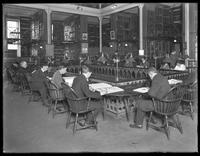 Stacks and reference room of the Montague branch of the Brooklyn Public Library, November 17, 1914.