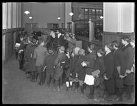 In- and out-going lines for the children's branch of the Brownsville branch of the Brooklyn Public Library, November 23, 1914.